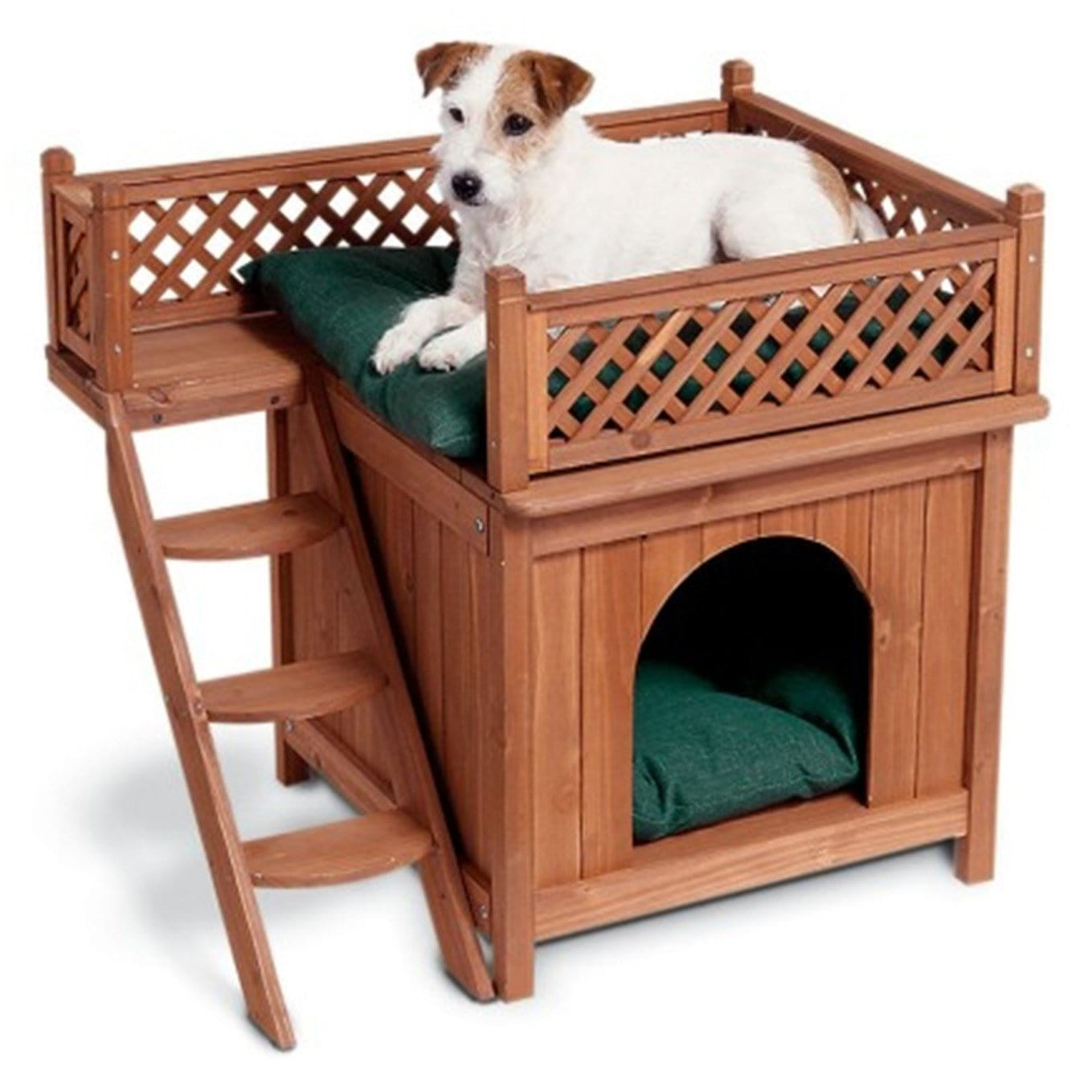 Wooden Dog House With Balcony For Medium And Small Pups Puppyfy Store
